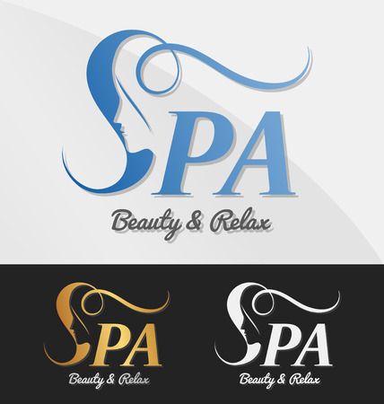 Illustration for Beautiful female face in negative space on letter S logo design. Suitable for spa, massage, salon, cosmetic and beauty concept with letter s. Vector illustration - Royalty Free Image