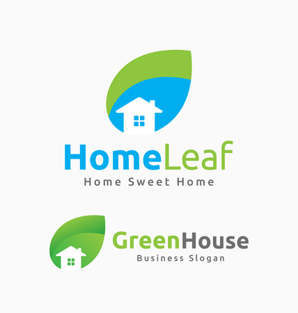Abstract House and Leaf Logo Template Design. Suitable for Building related, House, Resort, Spa, Construction, Real Estate.