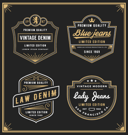 Illustration for Vintage denim jeans frame for your business. Use for label, tags, banner, screen and printing media. Vector illustration - Royalty Free Image