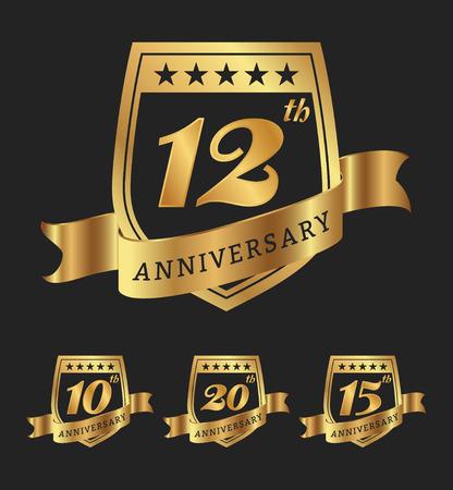 Illustration for Golden anniversary badge labels design. - Royalty Free Image