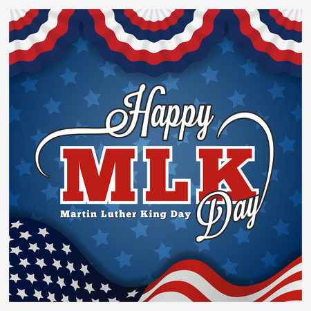 Illustration pour Martin luther king day greeting card and lettering on wavy american flag background.  - image libre de droit