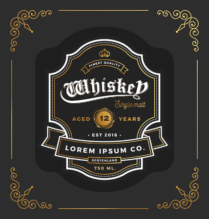 Illustration for Vintage frame label design. Suitable for Whiskey and Wine label, Restaurant, Beer label. Vector illustration - Royalty Free Image