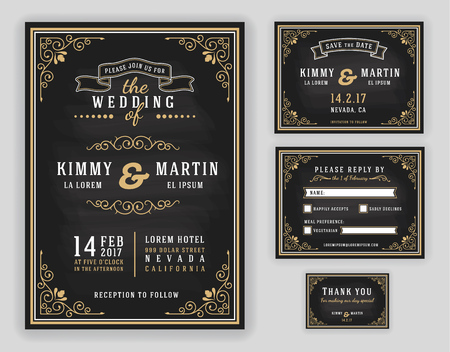 Illustration for Luxurious wedding invitation on chalkboard background. Include Invitation, RSVP card, Save the date, Thank you card. illustration - Royalty Free Image
