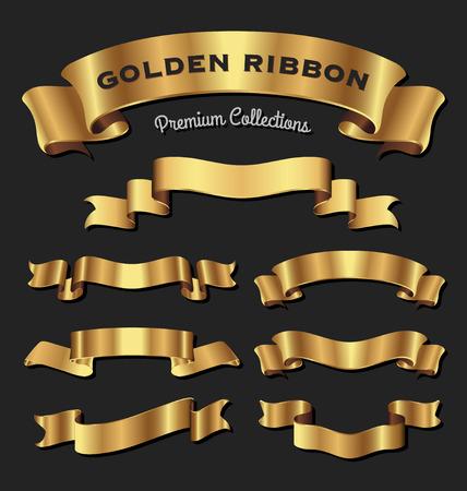Illustration for Set of premium golden ribbons for your design. Vector illustration - Royalty Free Image