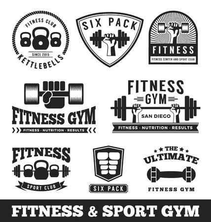 Foto de Set of fitness gym and sport club logo emblem design. Vector illustration - Imagen libre de derechos