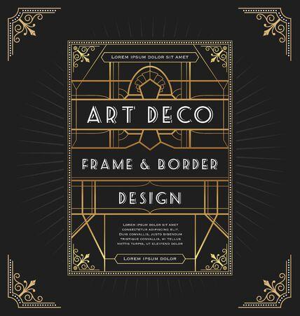 Illustration for Art deco frame design for your design such as invitation, print, banner. Vector illustration - Royalty Free Image