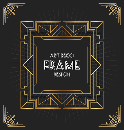 Illustration pour Art deco frame design for your design such as invitation, print, banner, poster. Vector illustration - image libre de droit