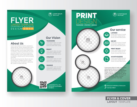 Ilustración de Multipurpose corporate business flyer layout template design. Suitable for leaflet, flyer, brochure, book cover and annual report. Layout in A4 size with bleeds. - Imagen libre de derechos