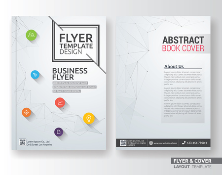 Ilustración de Multipurpose corporate business layout template design. Suitable for leaflet, brochure, book cover and annual report. Layout in A4 size with bleeds. - Imagen libre de derechos