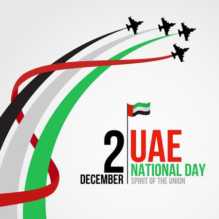 United Arab Emirates national day background design with colorful smoke from jet plane. UAE holiday celebration background. Spirit of the union concept.