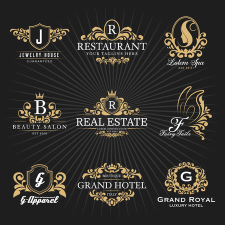 Illustration pour Vintage Royal Heraldic Monogram and Frame Logo Decorative Design. Vector illustration - image libre de droit