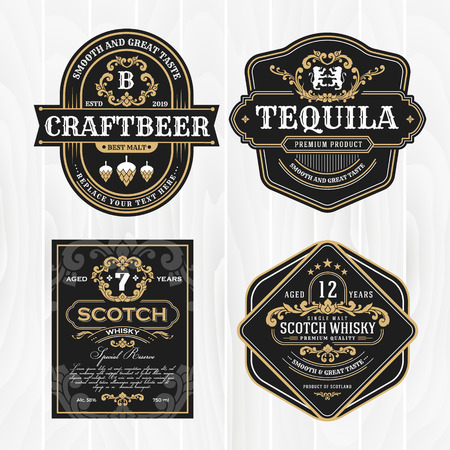 Illustration for Classic vintage frame for labels, banner and other design. Suitable for whiskey, beer and premium product. - Royalty Free Image