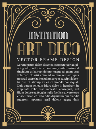 Illustration for Luxury vintage frame art deco style. vector illustration - Royalty Free Image