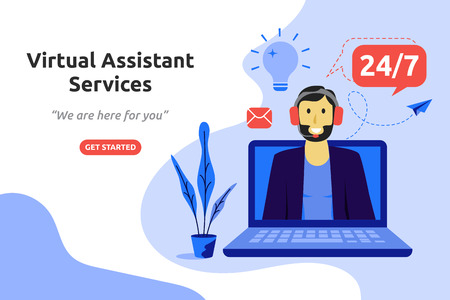 Illustration pour Online virtual assistant services concept modern flat design. Vector illustration - image libre de droit