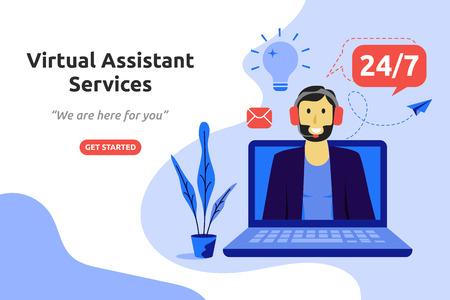 Illustration for Online virtual assistant services concept modern flat design. Vector illustration - Royalty Free Image