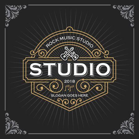 Photo pour Music studio logo. Vintage Luxury Banner Template Design for Label, Frame, Product Tags. Retro Emblem Design. Vector illustration - image libre de droit