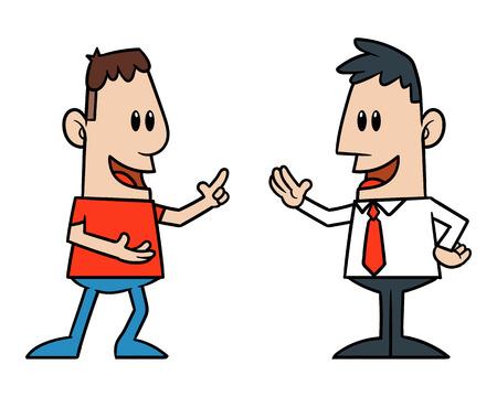 Illustration pour Two Cartoon Men Talking - image libre de droit