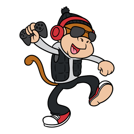 Cartoon Monkey Character Holding a Game Remote Control