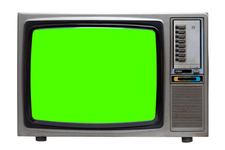 Photo for Vintage TV : old retro TV with green screen isolated on white background with clipping path. - Royalty Free Image