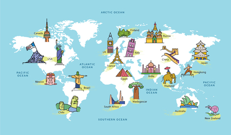 Illustration pour World Map with Icons of Landmark in Famous Contries, Vector Illustration - image libre de droit
