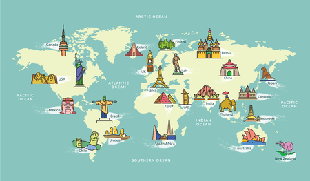 Illustration pour World Map with Landmark of Famous Country Symbol - image libre de droit