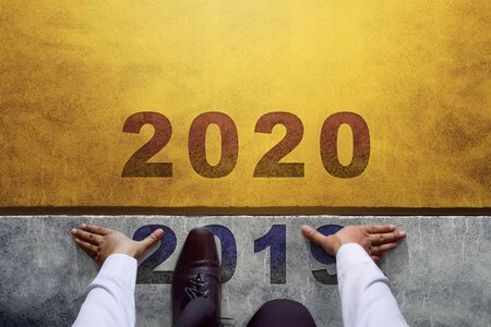 2020 Year Concept. Top view of Businessman on Start line, Ready for New Business Challenge