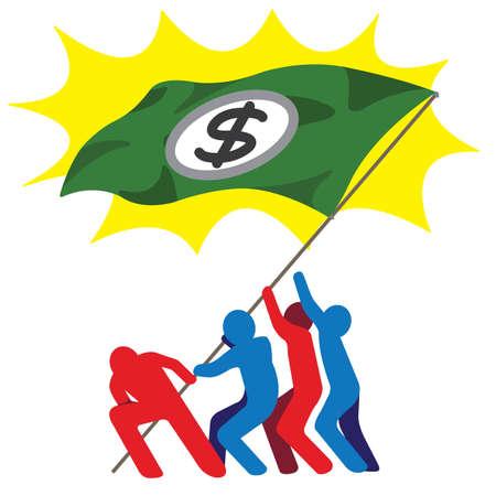 Group of men raising US dollar flag banner