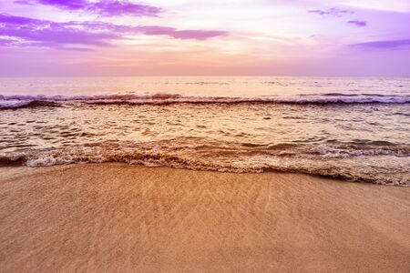 Photo for Sunset beach background, relaxing on peaceful beach, paradise island - Royalty Free Image