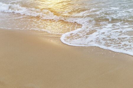 White wave on find sand beach, nature concept background, environmental, tropical island, summer holiday