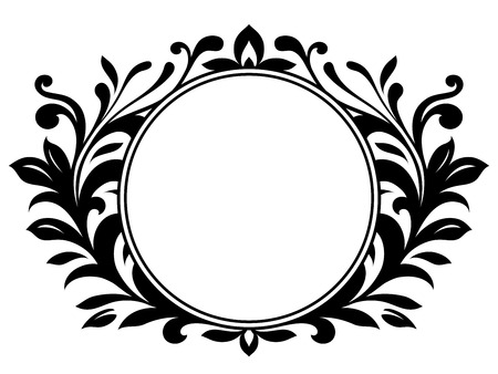 Ornamental wreath with blank sign
