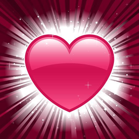Shiny pink valentine heart on star burst background