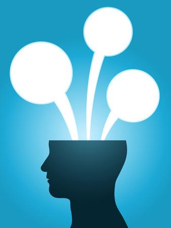 Illustration pour head silhouette speech bubble thoughts with copy-space - image libre de droit