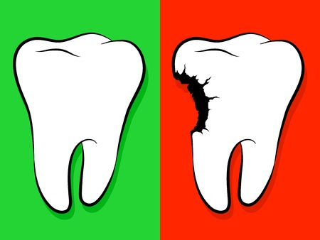 Healthy And Unhealthy Tooth Cartoon isolated on green for healthy and red as a warning for decay