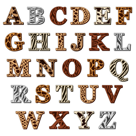 Ilustración de Capital letters of the Latin alphabet with animal print resembling the natural pattern of the skin and fur of wild animals, isolated on white - Imagen libre de derechos