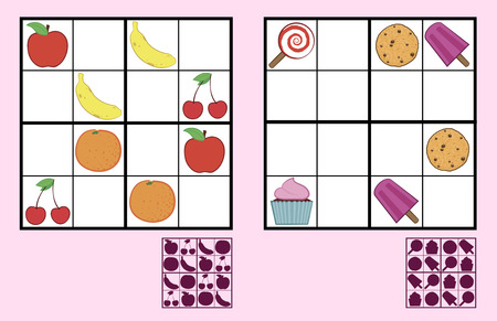Childrens sudoku puzzle with colorful icons of sweets, nuts and fruit arranged in a grid with empty squares and a silhouette answer below, two different variations suitable for primary school or recreation