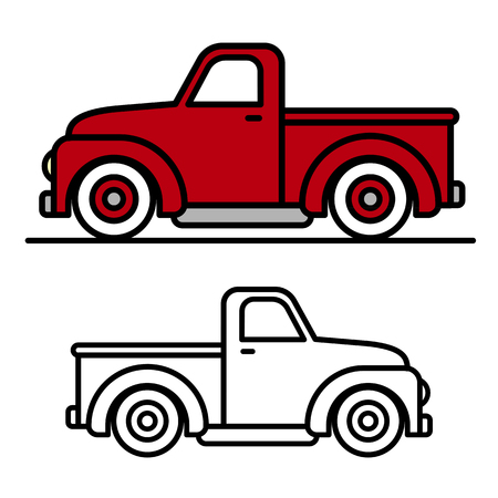 Illustration for Two cartoon vintage pick-up truck outline drawings, one red and one black and white, in side view, vector illustration - Royalty Free Image