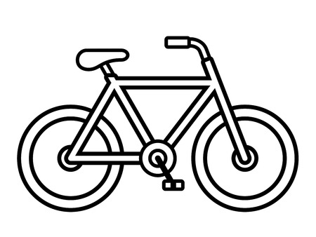 Illustration for Bicycle outline drawing viewed from the side isolated over white, vector illustration - Royalty Free Image
