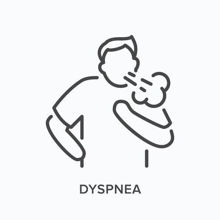 Illustration pour Cothing man line icon. Vector outline illustration person with lung problems . Astma patient - image libre de droit