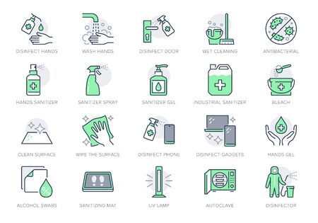 Illustration pour Disinfection line icons. Vector illustration included icon as spray bottle, floor cleaning mop, wash hand gel, autoclave uv lamp outline pictogram for housekeeping Green Color, Editable Stroke - image libre de droit