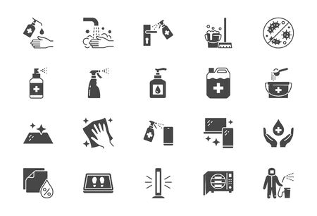Illustration pour Disinfection flat icons. Vector illustration included icon as spray bottle, floor cleaning mop, wash hands gel, autoclave uv lamp black silhouette pictogram for housekeeping - image libre de droit