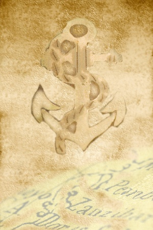 parchment paper background map and anchor