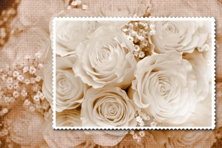 composition romantic bouquet of old fashioned roses