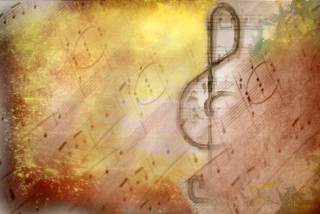 grunge  treble clef musical on background score