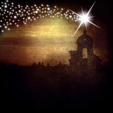 Photo for Christmas Greeting Card, belfry and Star of Bethlehem - Royalty Free Image