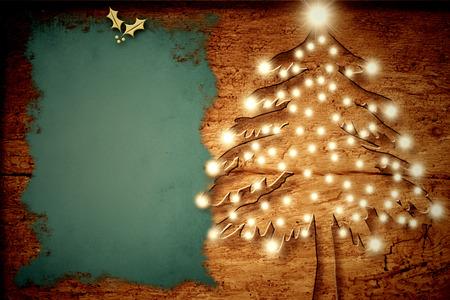 Christmas rustic card, Christmas tree with lights old wood
