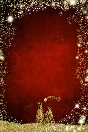 Foto de Abstract  Christmas Nativity Scene, Holy Family greetings cards. - Imagen libre de derechos