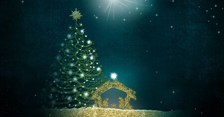 Photo for Christmas Nativity Scene greetings cards, abstract freehand drawing of Nativity scene and tree with golden glitter - Royalty Free Image