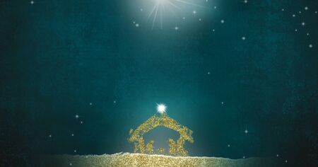 Photo for Christmas Nativity Scene greetings cards, abstract simple freehand drawing of Nativity scene  with golden glitter - Royalty Free Image