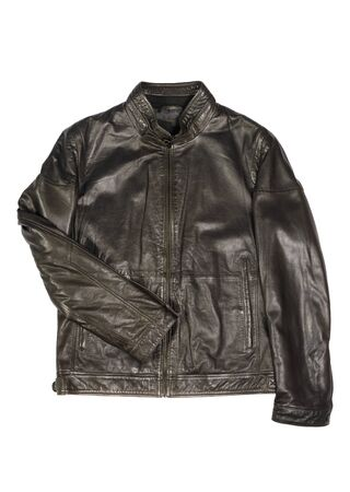 Photo pour mens leather jacket on a white background isolated - image libre de droit
