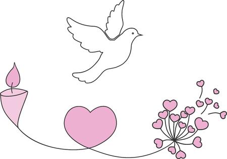 Foto de Vector illustration of love and peace with bird, flower and candle. - Imagen libre de derechos